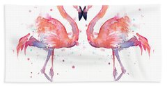 Flamingo Love Watercolor Bath Towel