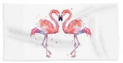 Flamingo Love Watercolor Hand Towel