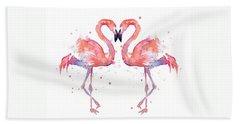Flamingo Love Watercolor Bath Towel