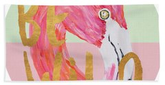 Flamingo On Stripes Round Bath Towel