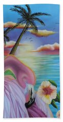 Hand Towel featuring the painting Flamingo Sunset by Dianna Lewis