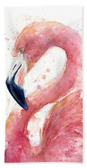 Flamingo Watercolor Painting Bath Towel