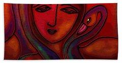 Flamingoes- Mural Style Bath Towel by Latha Gokuldas Panicker