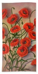 Flander's Poppies Hand Towel by Randy Burns