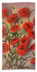 Flander's Poppies Bath Towel by Randy Burns