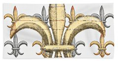 Fleur De Lys Silver And Gold Hand Towel by Barbara Chichester