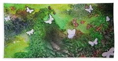 Hand Towel featuring the painting Flight Of White by Lynn Quinn