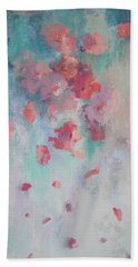 Floating Flowers Painting Hand Towel