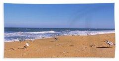 Flock Of Birds On The Beach, Flagler Hand Towel
