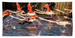 Flock Of Flamingoes Taking Flight Bath Towel