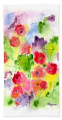 Hand Towel featuring the painting Floral Fantasy by Paula Ayers