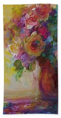 Floral Still Life Hand Towel by Mary Wolf