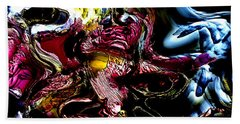 Hand Towel featuring the digital art Flores' Darker More Uncomfortable Twin by Richard Thomas