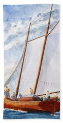 Hand Towel featuring the painting Florida Catboat At Sea by Roger Rockefeller