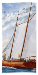 Florida Catboat At Sea Hand Towel