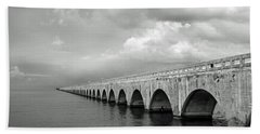 Florida Keys Seven Mile Bridge Black And White Bath Towel by Photographic Arts And Design Studio