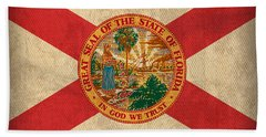Florida State Flag Art On Worn Canvas Hand Towel by Design Turnpike