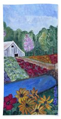 Flower Farm -poppies Daisies Lavender Whimsical Painting Hand Towel