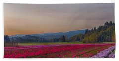 Flower Field At Sunset In A Standard Ratio Hand Towel