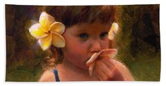 Flower Girl - Tropical Portrait With Plumeria Flowers Bath Towel