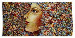 Bath Towel featuring the painting Flower Goddess. by Natalie Holland