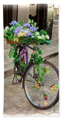 Flower Power Meets Pedal Power  Bath Towel