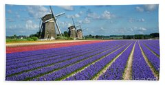 Landscape In Spring With Flowers And Windmills In Holland Bath Towel