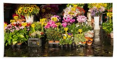 Flowers For Sale At Campo De Fiori - My Favourite Market In Rome Italy Hand Towel
