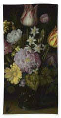 Flowers In A Glass Vase Hand Towel