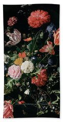 Flowers In A Glass Vase, Circa 1660 Hand Towel