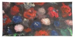 Bath Towel featuring the painting American Floral by Laurie L