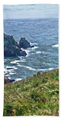 Flowers On Isle Of Guernsey Cliffs Hand Towel