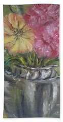 Bath Towel featuring the painting Flowers by Teresa White