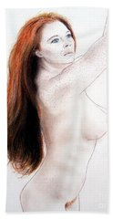 Bath Towel featuring the drawing Flowing Long Red Hair And Freckles by Jim Fitzpatrick