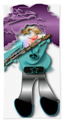 Hand Towel featuring the digital art Flute Player by Marvin Blaine