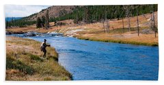 Fly Fishing In Yellowstone  Hand Towel