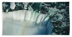 Flying Over Icy Niagara Falls Hand Towel