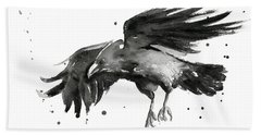 Flying Raven Watercolor Bath Towel