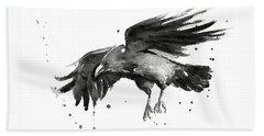 Flying Raven Watercolor Hand Towel