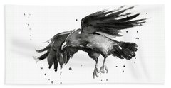 Flying Raven Watercolor Bath Towel