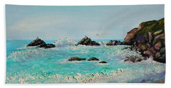 Hand Towel featuring the painting Foamy Ocean Waves And Sandy Shore by Asha Carolyn Young