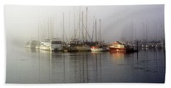 Fog Light In The Harbor Hand Towel by AJ  Schibig