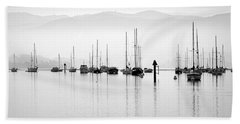 Fog Settles On Morro Bay Hand Towel by AJ  Schibig
