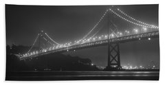 Foggy Bay Bridge Hand Towel