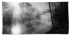 Foggy Misty Morning Sunrise On James River Bath Towel