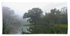 Foggy Morning At The Willows Bath Towel
