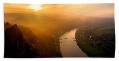 Foggy Sunrise At The Elbe Bath Towel
