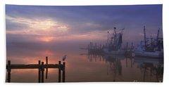Foggy Sunset Over Swansboro Bath Towel