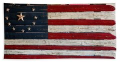 Folk Art American Flag Bath Towel by Art Block Collections