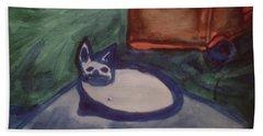 Folk Art Cat Bath Towel